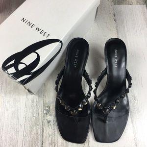 Nine West Black Heeled Sandals Size 7.5